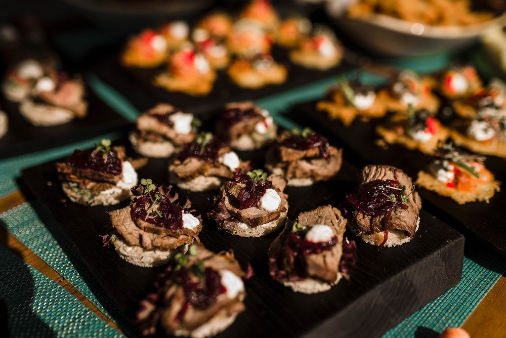 Canape Snacks With Beef And Beet