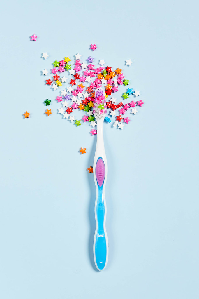 Candy causes tooth decay. Dental Care Concept
