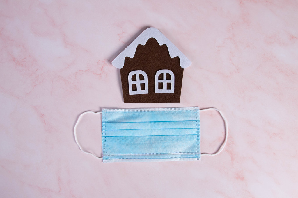 Candy house and medical face mask