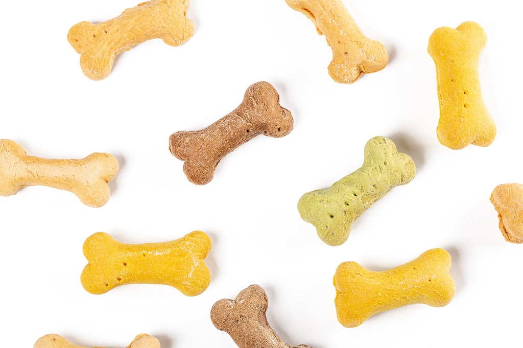 Canine snacks colored bones on white