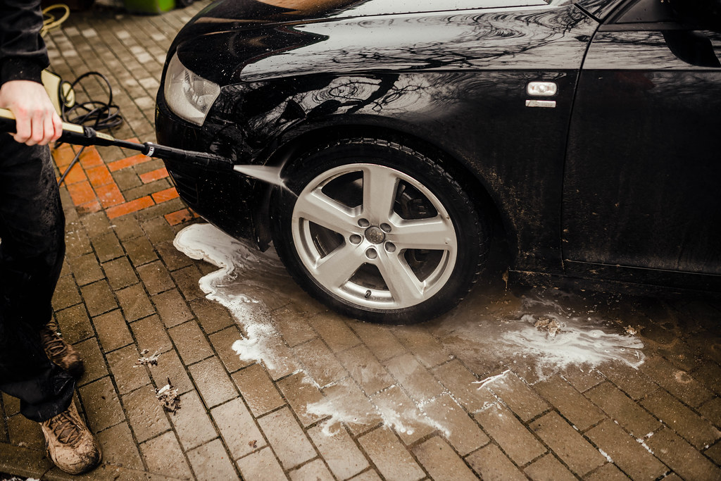 Car Wash High Pressure Service Outdoors -Wheel Washing