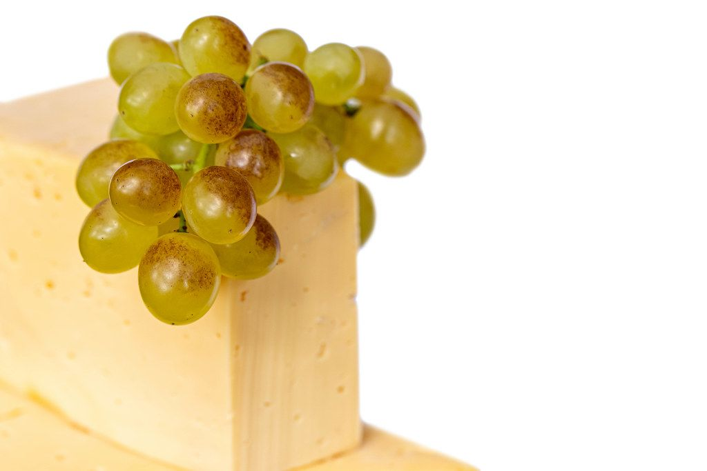 Cheese and fresh green grapes