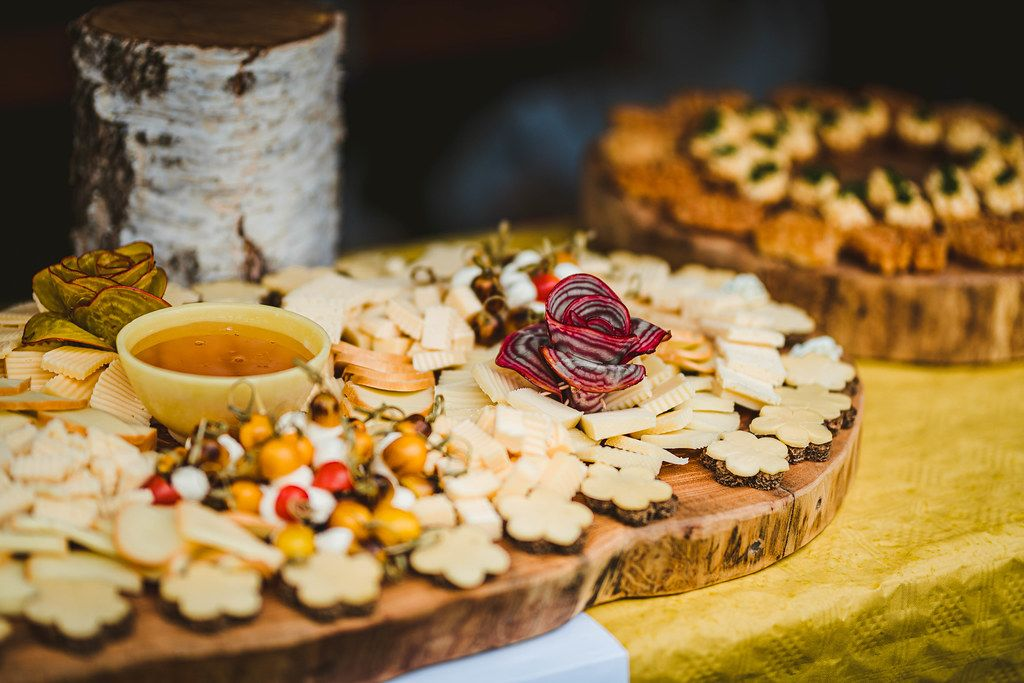 Cheese Asorti Plate With Redish Decor- Sauce And Little Bread Snacks