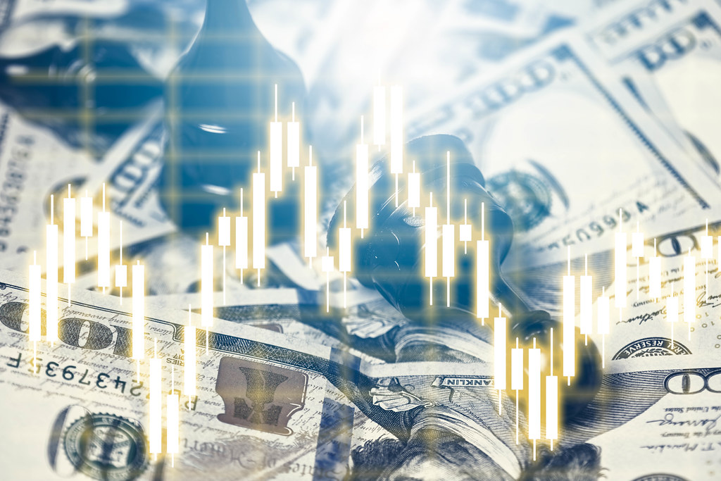 Chess pieces, us dollars and financial charts - Investment, financial and economic analysis concepts