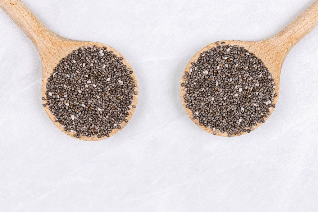 Chia Seeds on the two wooden spoons above white background