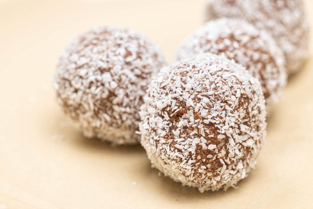 Chocolate Balls with Coconut closeup image