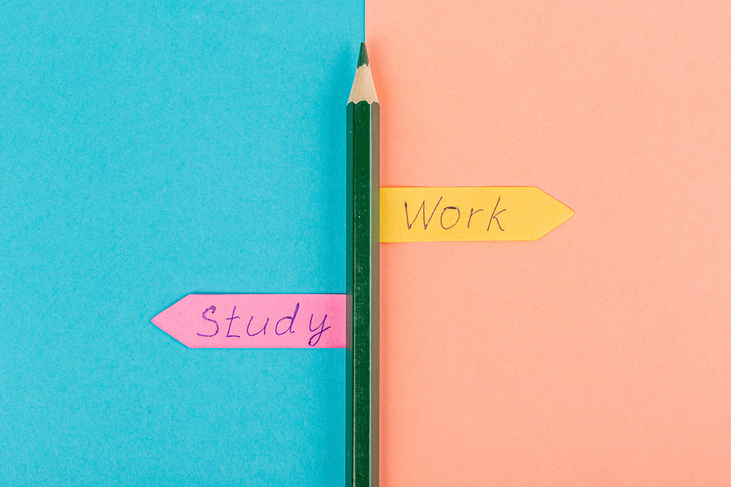 Choice between education and study concept