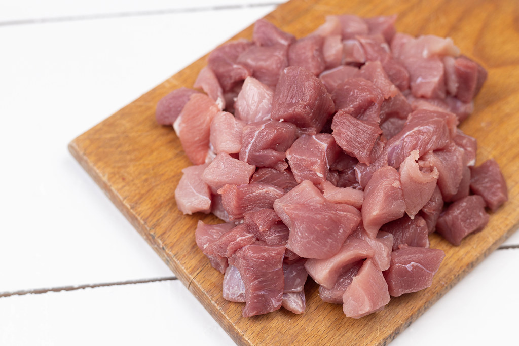 Chopped Pork Meat on the wooden board