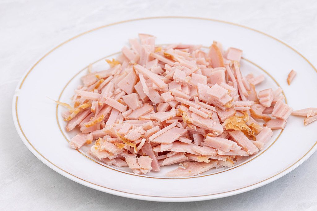 Chopped Smoked Ham on the plate