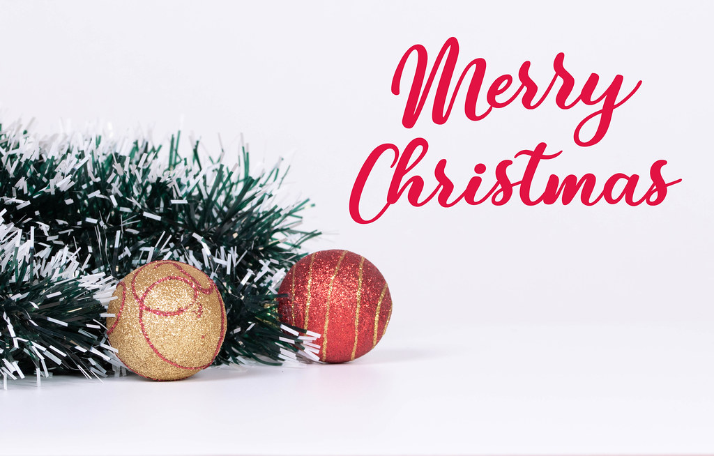 Christmas ornaments with Merry Christmas text