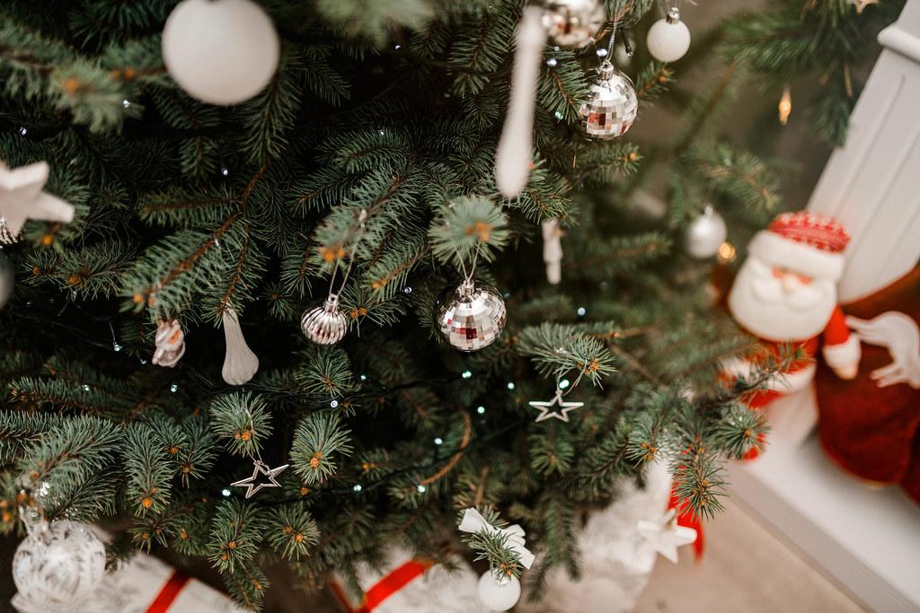 Christmas Tree  With Shiny Balls And Decors
