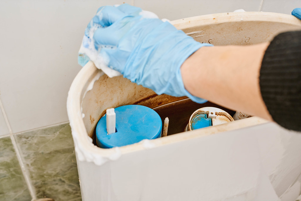 Clean the inside of a toilet tank