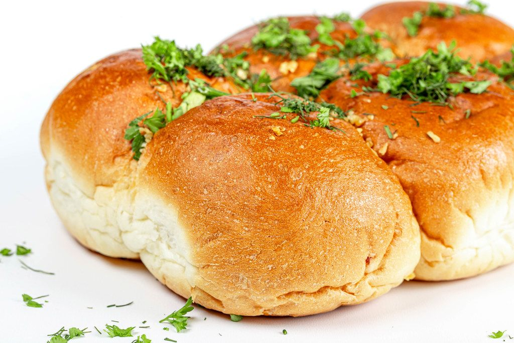 Close-up, buns with fresh herbs and garlic
