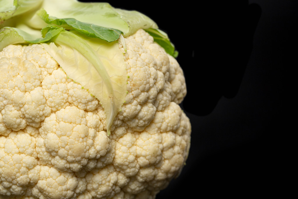 Close-up, cauliflower on a black background