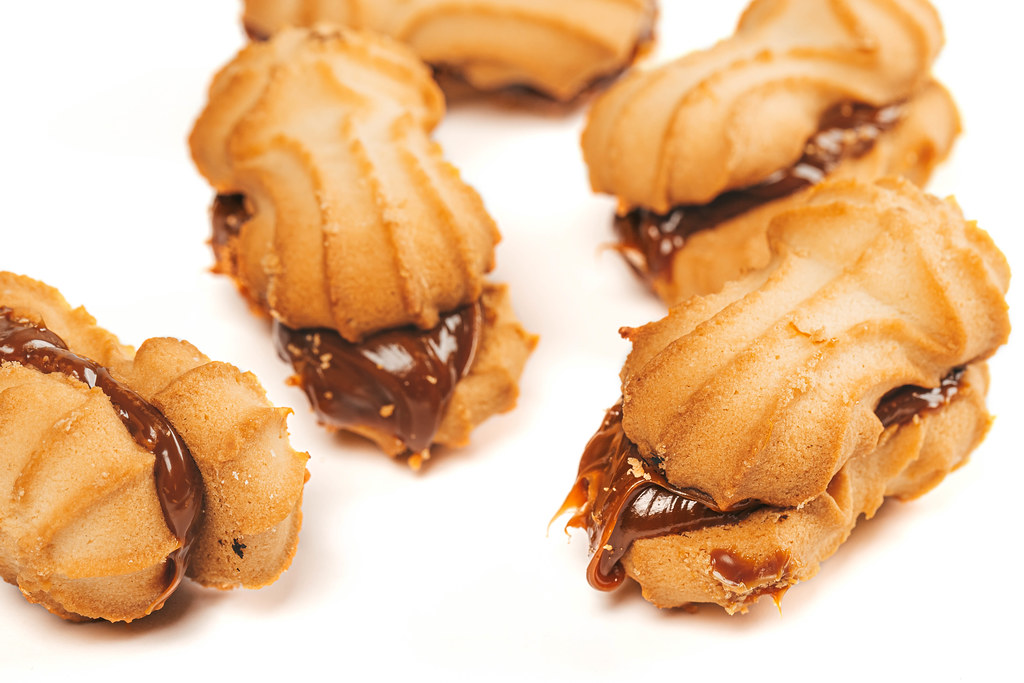 Close-up, cookies with condensed milk