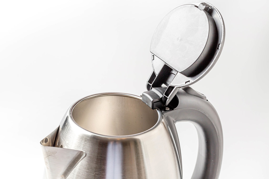 Close-up, electric kettle with open lid