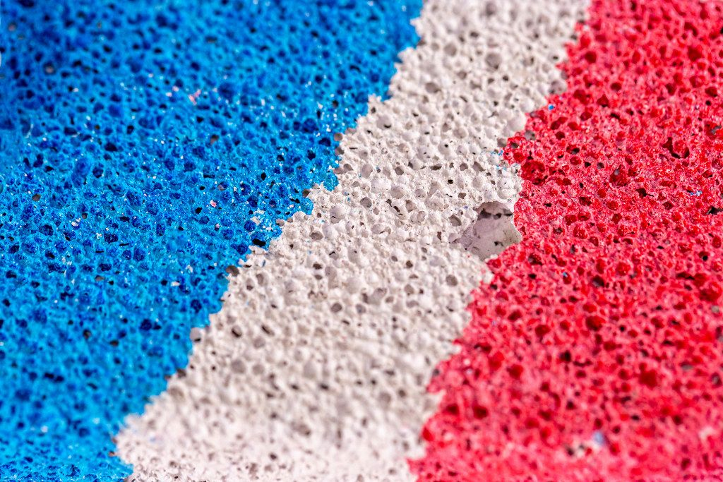 Close-up, multi-colored texture of the pumice surface