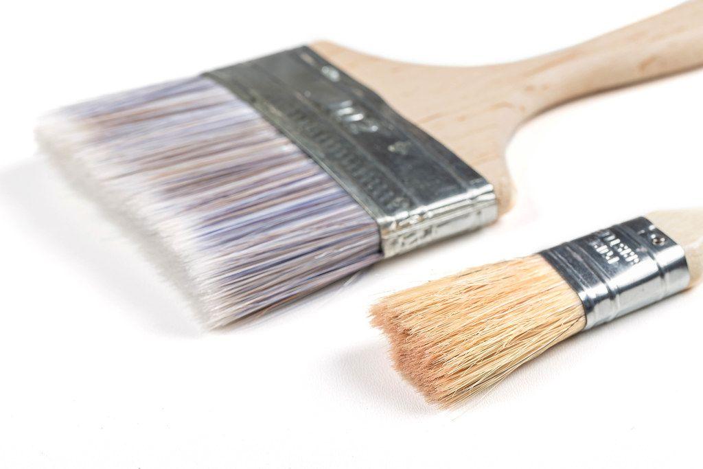 Close-up, paint brushes on white