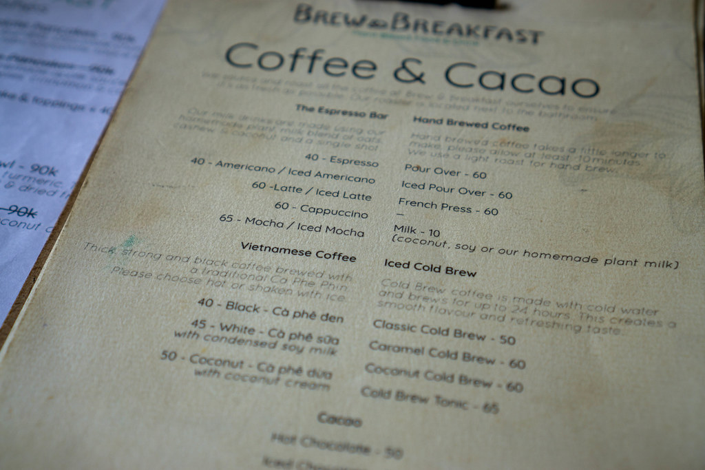 Close Up Photo of Menu with different kinds of Coffee such as Vietnamese Coffee and Brewed Coffee at Brew & Breakfast in Da Lat, Vietnam