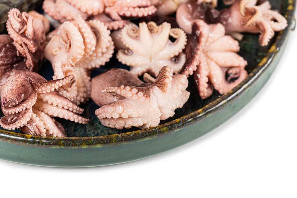 Close-up, pickled octopus in a green plate