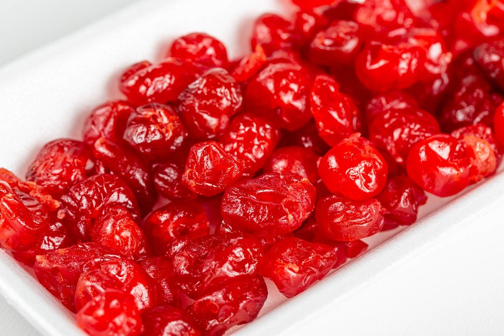 Close-up, red seedless dried cherries