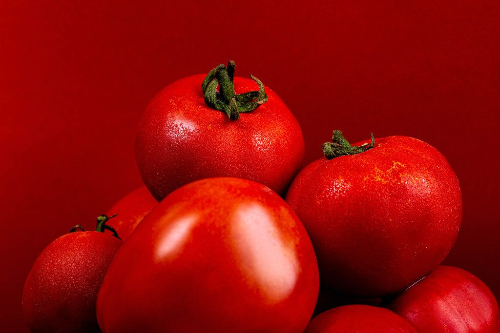 Close-up, ripe red tomatoes on a red background