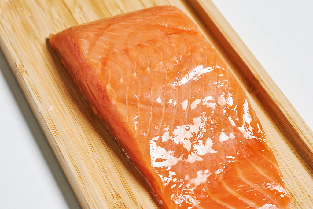 Close-up shot of cold baked salmon fish meat