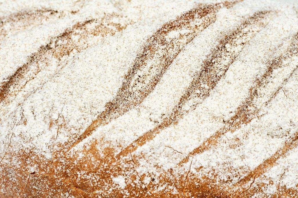 Close-up shot of freshly baked bread in a bakery