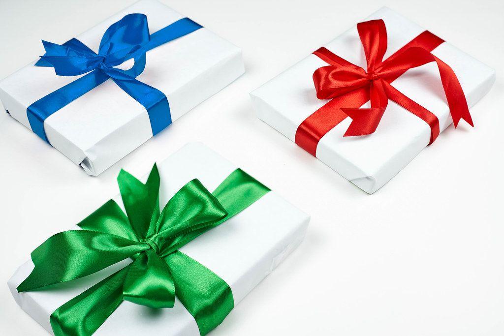 Close-up shot of several gifts