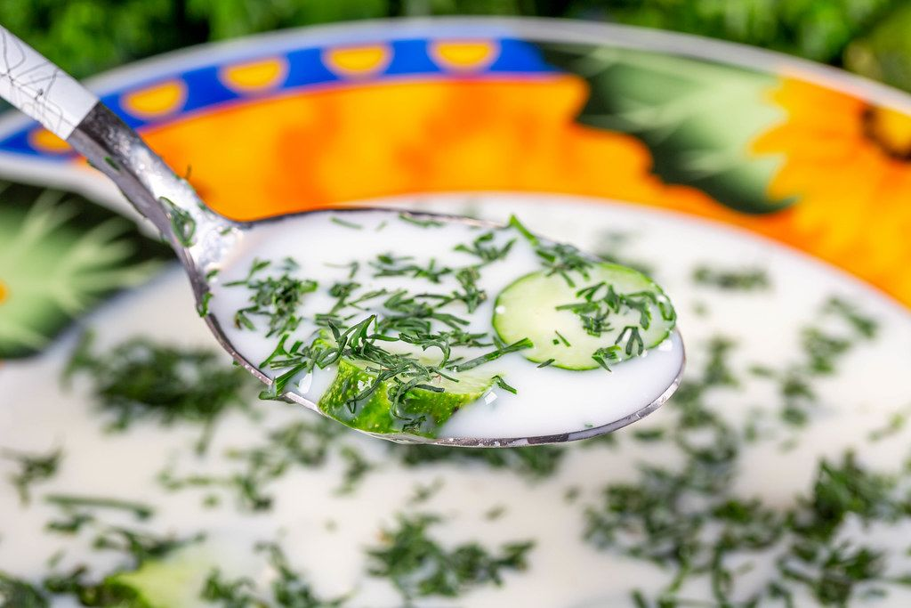 Close-up, summer Russian traditional soup okroshka