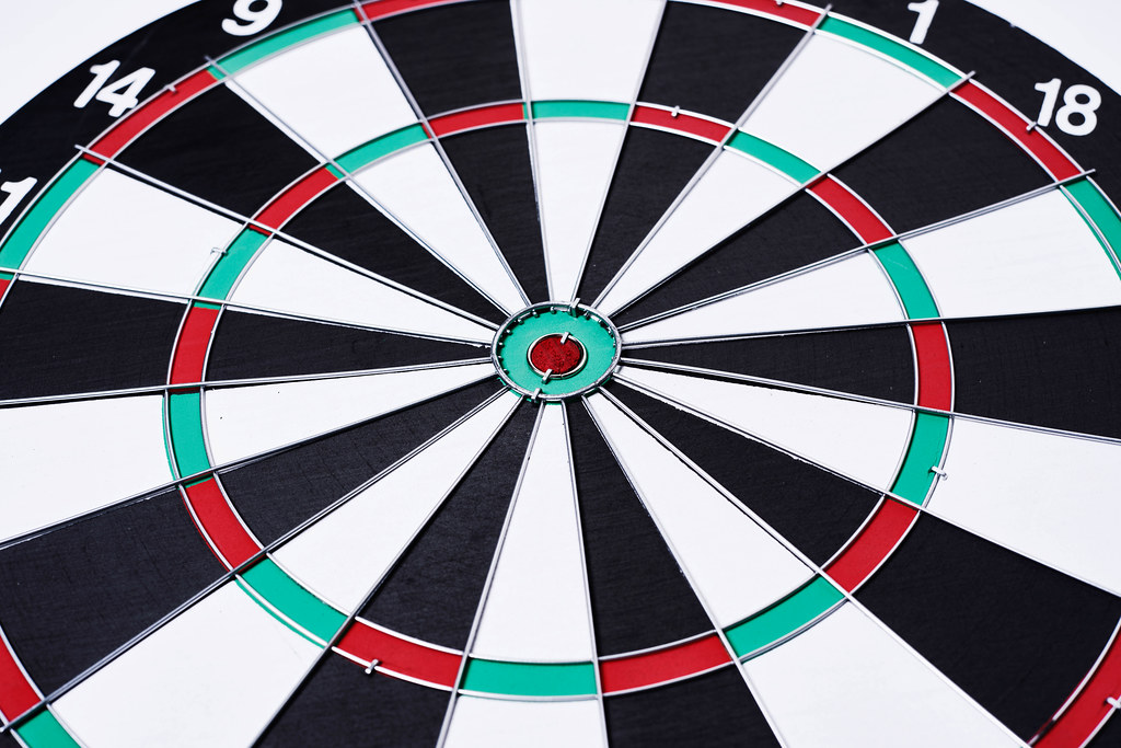 Close-up view of an empty dartboard