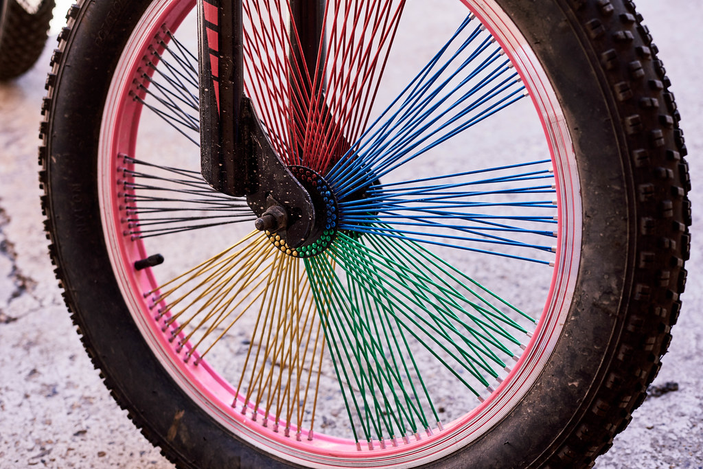 Close-up view of bicycle wheel