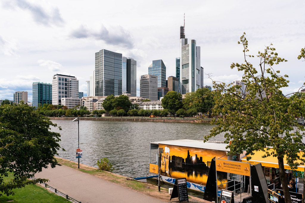 Close up view of financial district of Frankfurt with Commerzbank skyscraper and others