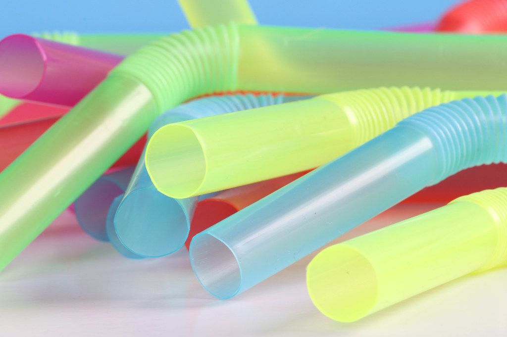 Closeup of Colorful drinking straws