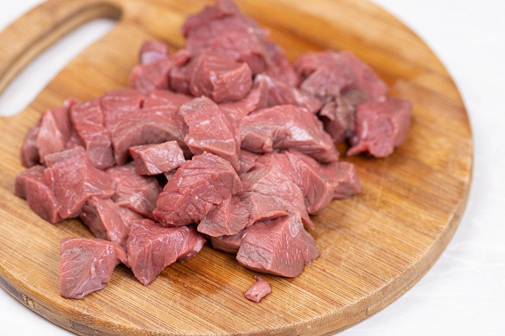 Closeup of Sliced and chopped raw Beef meat