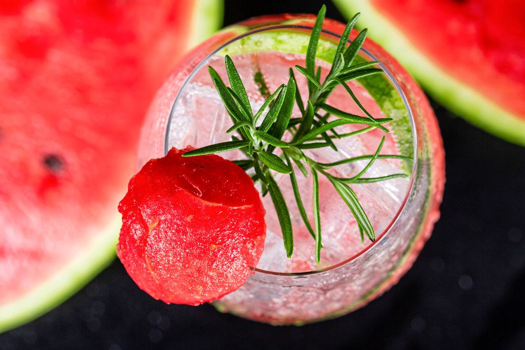 Cold refreshment non-alcoholic watermelon drink, top view