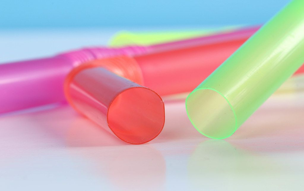 Colored plastic drinking straws