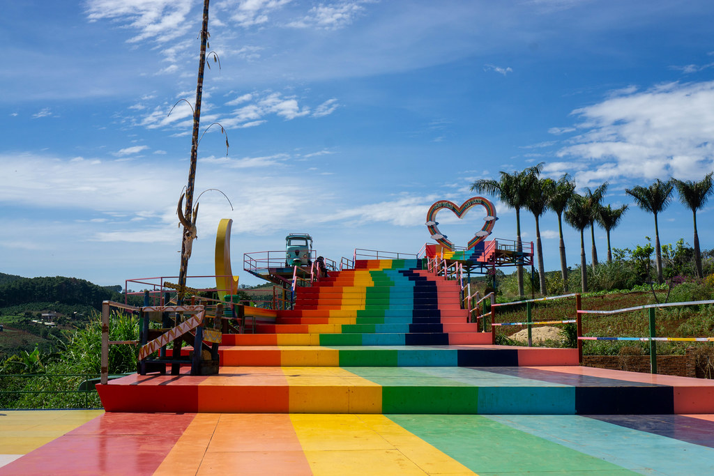 Colored Stairs leading to a large Heart with several Photoshoot Spots at Me Linh Coffee Garden in Da Lat, Vietnam