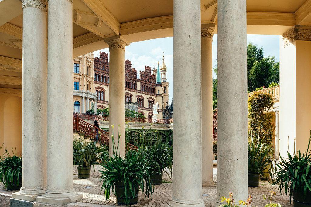 Columns inside of the inner yard of fairytale Schwerin castle