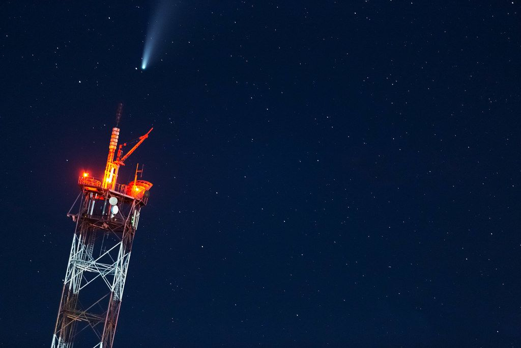 Comet Neowise in the night sky above the TV tower