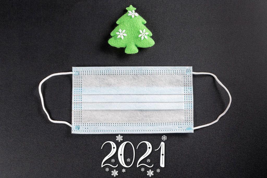 Conceptual christmas background - holidays and quarantine