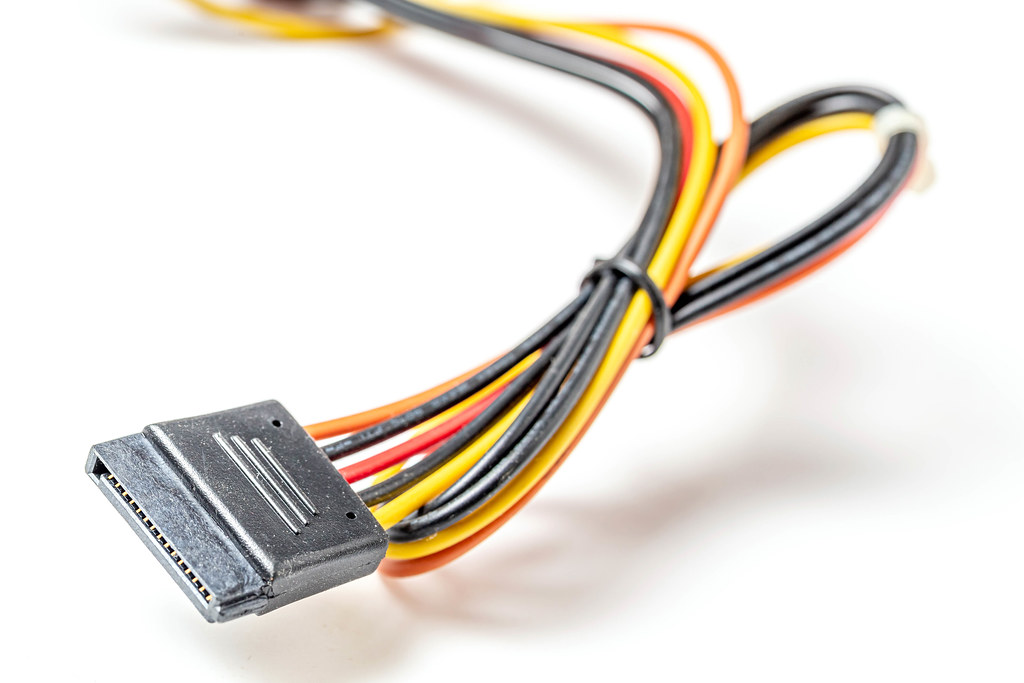 Connector computer wires multicolored on white background
