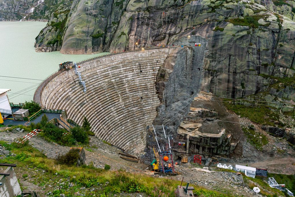 Construction underway beneath the Swiss Grimsel dam