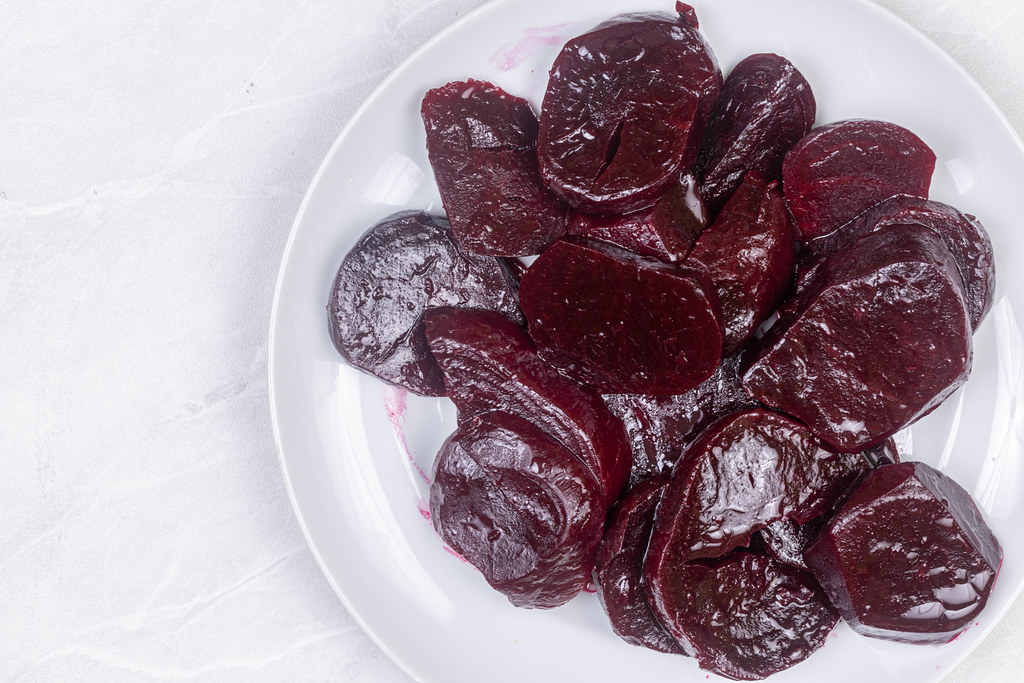 Cooked Beet sliced on the plate