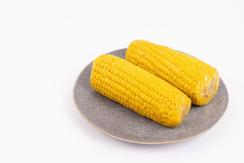 Cooked Corn served on the plate above white background