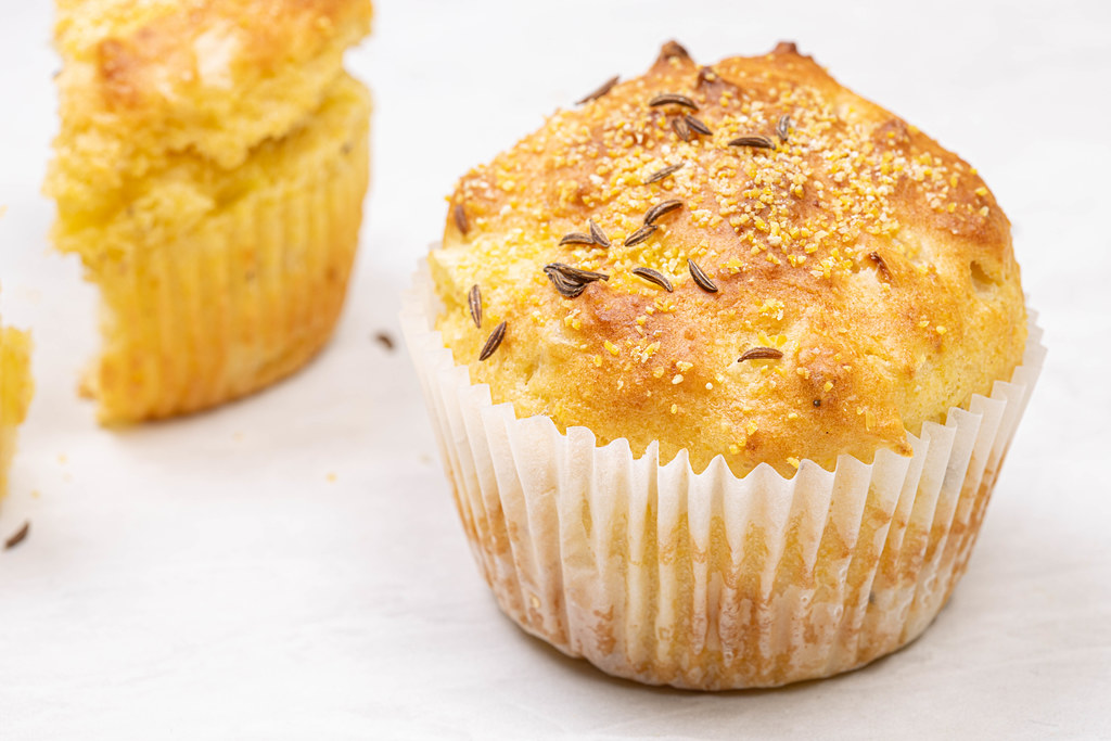Cornbread Muffins with Cheese on the table