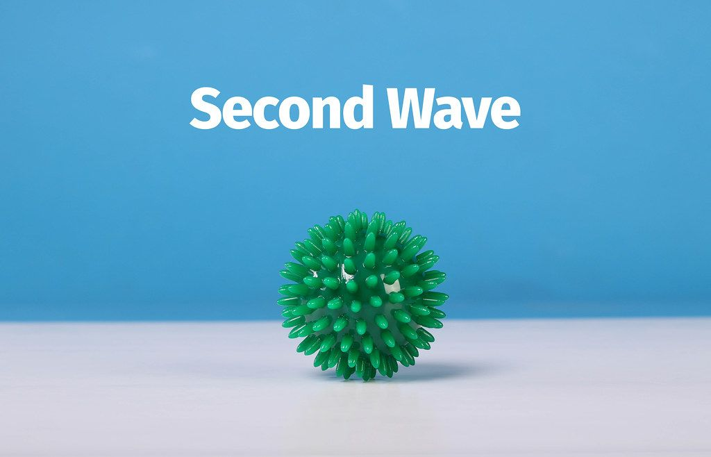 Coronavirus Bacteria concept with Second Wave text