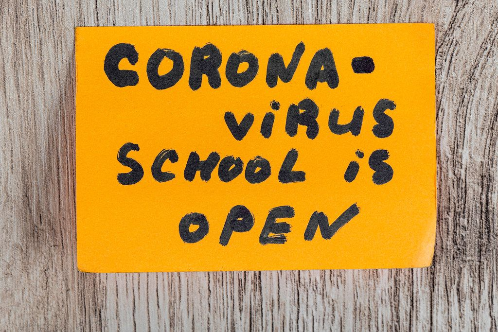 Coronavirus school is open. The beginning of the school season. Concept back to school after quarantine