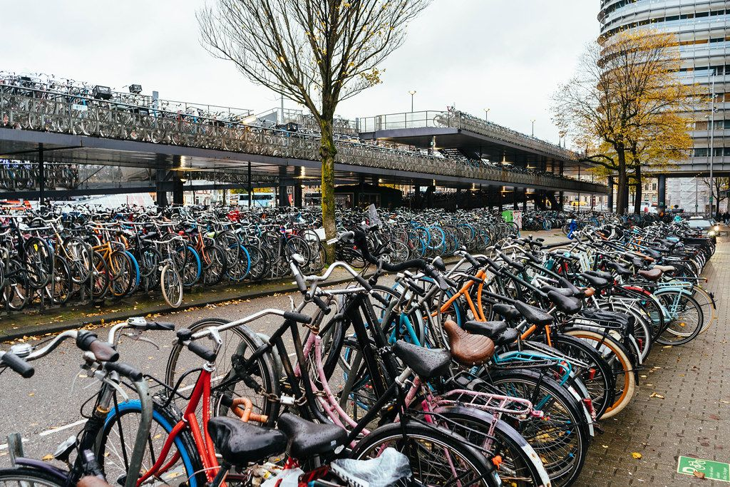 Countless bicycles parked at the Amsterdam