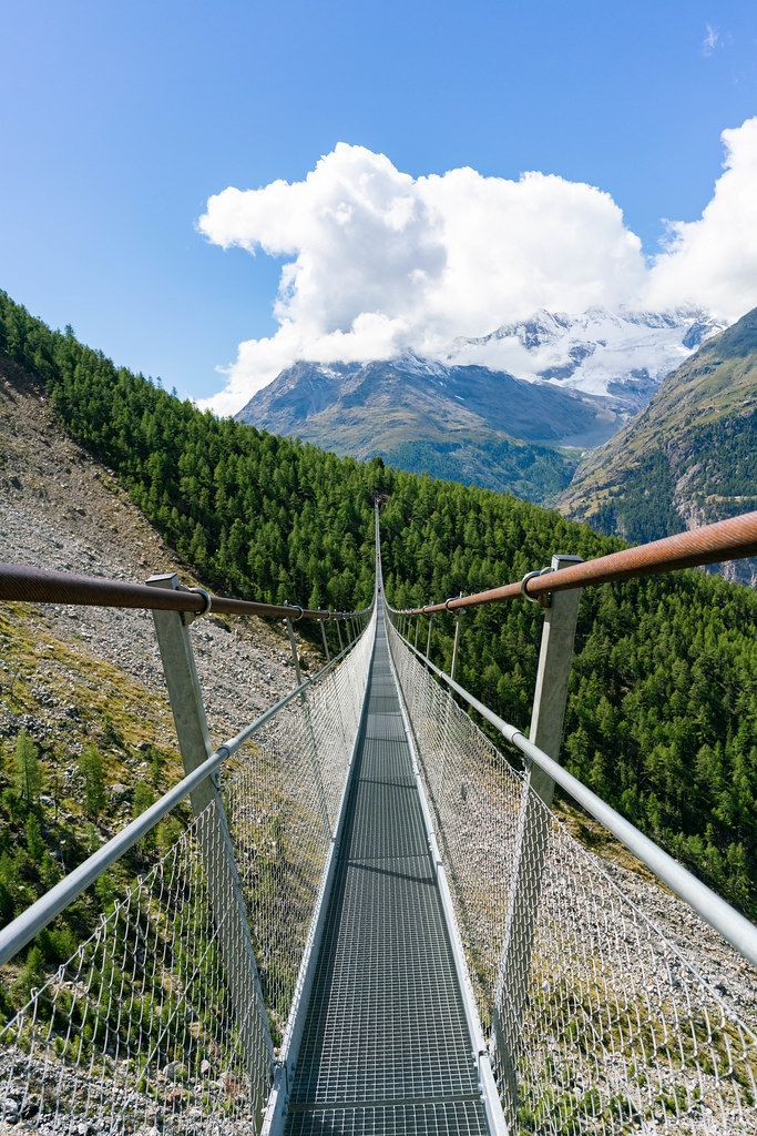 Crossing Charles Kuonen suspension bridge in Switzerland